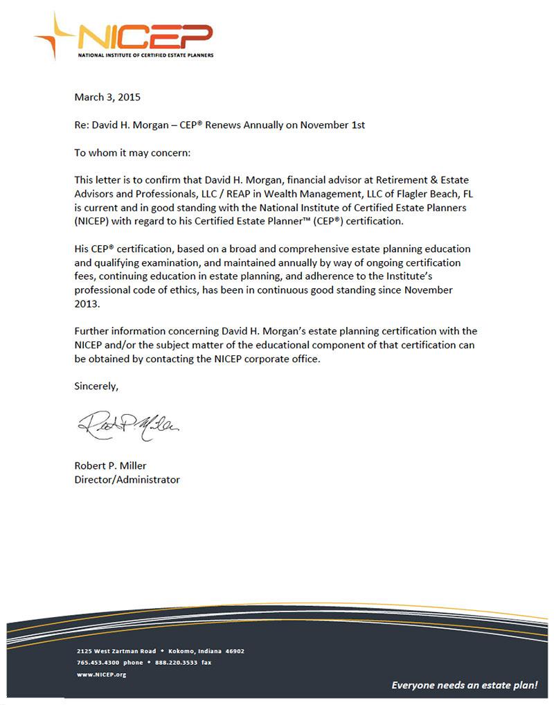 Nicep Letter Of Good Standing Reap Retirement Estate Advisors